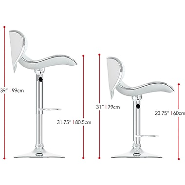 CorLiving™ Leatherette Curved Form Fitting Adjustable Bar Stool, White