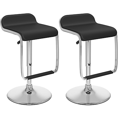 CorLiving™ Adjustable Bar Stool with Footrest, Black Tufted Leatherette, set of 2