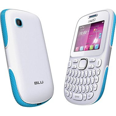 BLU Samba TV Q170T Unlocked GSM Dual-SIM Cell Phone, White/Blue