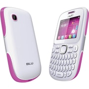 BLU Samba TV Q170T Unlocked GSM Dual-SIM Cell Phone, White/Pink