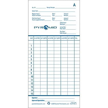 Pyramid™ French/English Time Cards for 2600 Time Recorder, 1,000/Case
