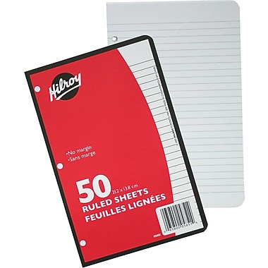 Hilroy® 3 Hole Ruled Refill Paper, 50 Sheets, 8 - 3/8
