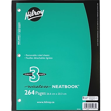 HilroyMD – Cahier de notes NeatbookMD, 264 pages, 8 x 10 1/2 po, 3 sujets