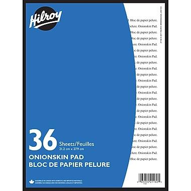 Hilroy – Bloc de papier pelure d'oignon, 8 1/2 x 11 po, 36 feuilles