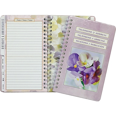 AT - A - GLANCE® Floral Telephone/Address Book, 6 - 1/4