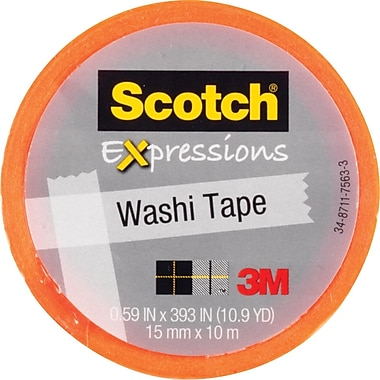 Scotch® Expressions Washi Tape, Orange, 3/5in. x 393in.