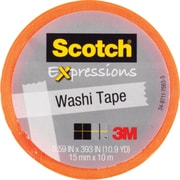 "Scotch® Expressions Washi Tape, Orange, 3/5"" x 393"""