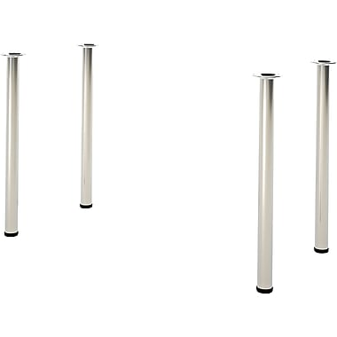 Bestar Build Your Desk Round Legs, 4/Pack, Zinc