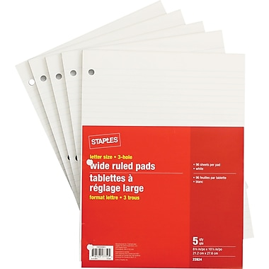 Staples® Letter Size Wide Ruled White Paper Pads, 96 Sheets, 3 Hole, 5/Pack