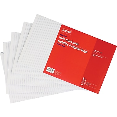 Staples® Legal Size Wide Ruled White Paper Pads, 96 Sheets, 5/Pack