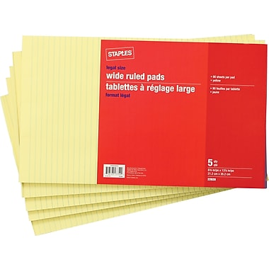 Staples® Legal Size Wide Ruled Yellow Paper Pads, 90 Sheets, 5/Pack