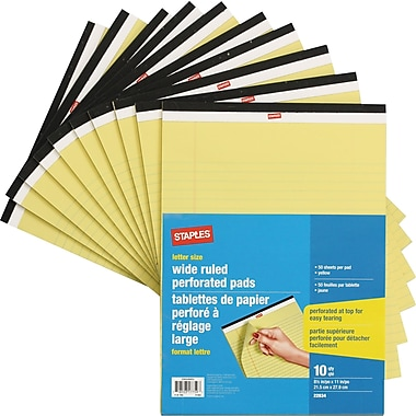 Staples® Letter Size Perforated Wide Ruled Yellow Paper Pads, 50 Sheets, 10/Pack