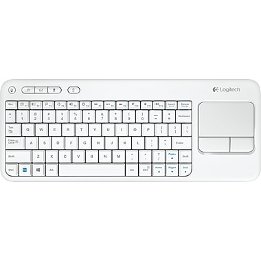 Logitech K400 Wireless Touch Keyboard with Built-in Trackpad, White (920-005878)