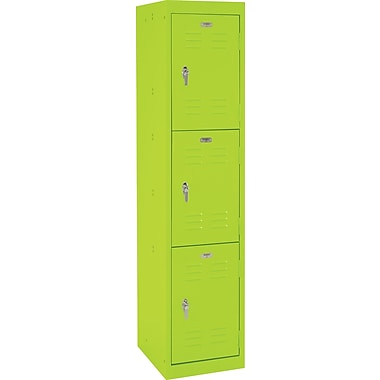 Sandusky® 66in.H x 15in.W x 18in.D Steel Triple Tier Locker, Electric Green