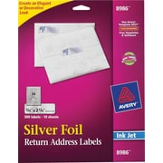 "Avery 0.75"" x 2.25"" Inkjet Labels, Silver Foil, 10/Pack (8986)"