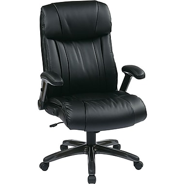 Office Star Worksmart Executive High-Back Eco Leather Chair with Adjustable Padded Flip Arms, Black