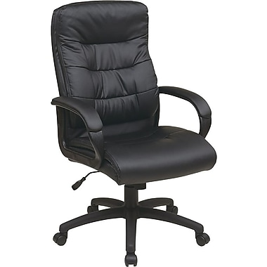 Office Star Worksmart Executive High-Back Faux Leather Chair with Padded Arms, Black