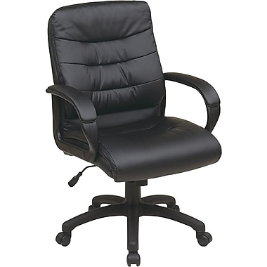 Office Star Worksmart Executive Mid-Back Faux Leather Chair with Padded Arms, Black