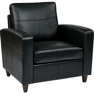 Office Star OSP Furniture Eco Leather Club Chair, Black