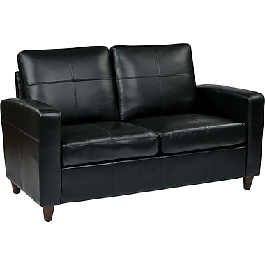 Office Star OSP Furniture Eco Leather Loveseat, Black