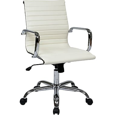 Office Star Worksmart Executive Mid-Back Faux Leather Chair with Built-in Lumbar Support, White