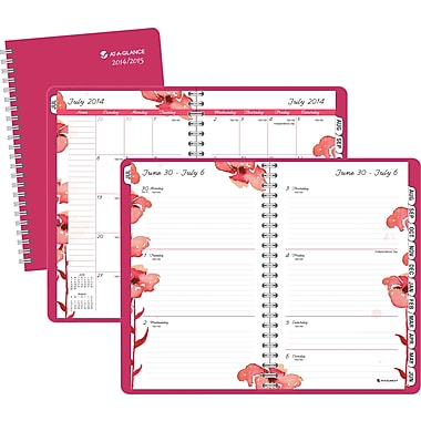 2014/2015 AT-A-GLANCE® Academic Berry Blossom Weekly/Monthly Planner, 4 7/8in. x 8in.