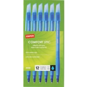 Staples Comfort Stic™ Grip Ballpoint Pens, Medium Point, Blue, Dozen (24159/12184)
