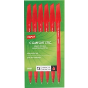 Staples Comfort Stic™ Grip Ballpoint Pens, Medium Point, Red, Dozen (24167/12315)