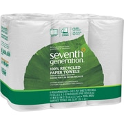 Seventh Generation 100% Recycled Paper Towel Roll With Right Size Sheets, 2-Ply, White, 6 Rolls/Case