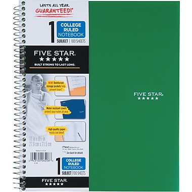 Five Star® Wirebound Notebook, 1 Subject, College Ruled, 100 Count, Green (72055)