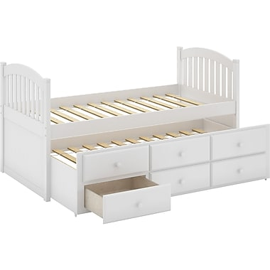 Corliving heritage place collection solid wood single trundle bed with drawers staples - Solid wood trundle bed with drawers ...