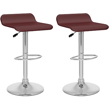 CorLiving Curved Adjustable Bar Stools, Brown Leatherette, 2 per Set