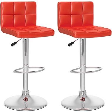 CorLiving High-Back Adjustable Bar Stools, Red Leatherette, 2 per Set