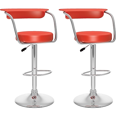 CorLiving Adjustable Bar Stools, Red Leatherette, 2 per Set