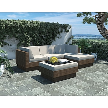 Sonax Park Terrace Collection, 5-Piece Sectional Patio Set, Saddle Strap Weave