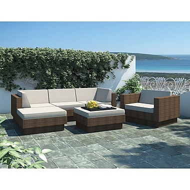 Sonax Park Terrace Collection, 6-Piece Sectional Patio Set, Saddle Strap Weave