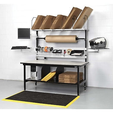 Calstone Packing Station, with Computer Mounts and Lower Shelf, Black/Silver
