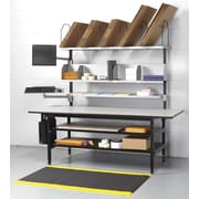 "Calstone Packing Station with Computer Mount and Lower Shelves, 73"" - 80"" H. x 68"" W. x 33"" D., Black/Silver"