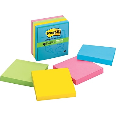 Post-it® Super Sticky 3in.x 3in. Multi Color Notes, Evernote Collection, 4 Pads/Pack