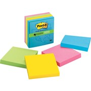 "Post-it® Super Sticky 3""x 3"" Multi Color Notes, Evernote Collection, 4 Pads/Pack"