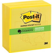 "Post-it® Super Sticky 3""x 3"" Electric Yellow Notes, Evernote Collection, 4 Pads/Pack"