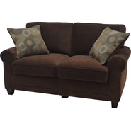 Serta Trinidad Collection Love Seat, Chocolate Fabric