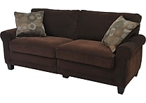 Serta RTA Trinidad Collection, 78' Fabric Sofa, Chocolate