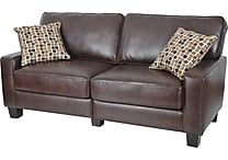 Serta Monaco Collection Deluxe Sofa, Eco-friendly Biscuit Brown Bonded Leather