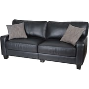 Serta Santa Rosa Collection Deluxe Sofa, Eco-friendly Smooth Black Bonded Leather