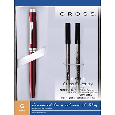 Cross Coventry Red Selectip Rollerball Gel Pen with (1) each Felt Tip & Gel Refill