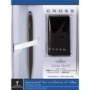 Cross Tech2 Matte Black Ballpoint Pen & Stylus with Microfiber Cleaning Cloth