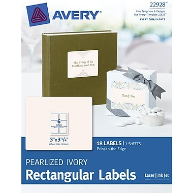 Avery® Print-to-the-Edge Pearlized Ivory Rectangular Labels 22928,  3in. x 3-3/4in., Pack of 18