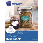Avery® Print-to-the-Edge Glossy White  Oval  Labels 22920 , 1-1/2 x 2-1/2, Pack of 54