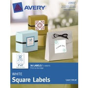 Avery® Print-to-the-Edge White Square Labels 22922, 2 x 2,  Pack of 36